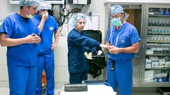 Preparing to film a surgery, Morrisville, Vermont